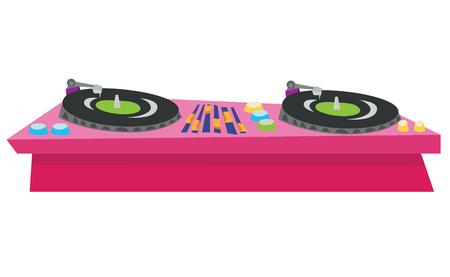 dj turntable: DJ turntable console mixer vector flat design illustration isolated on white background. Illustration