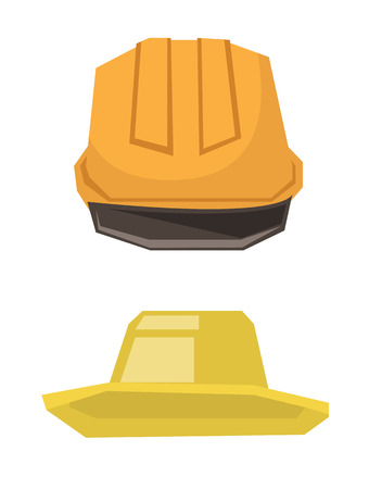 Hard hat and summer hat vector flat design illustration isolated on white background.