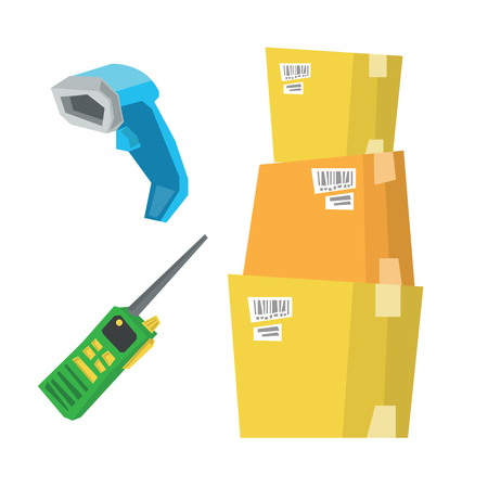 communications tools: Cardboard boxes, barcode scanner and radio set vector flat design illustration isolated on white background. Illustration