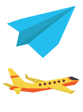 jetliner: Passenger airplane and paper plane vector flat design illustration isolated on white background.