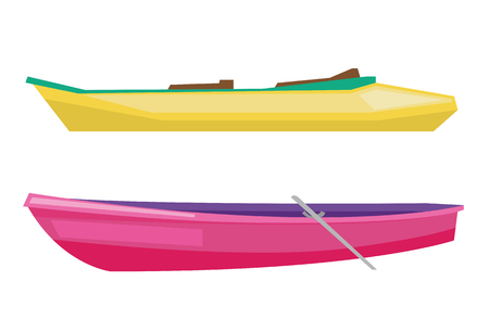 skiff: Rowing boat with paddles and canoe vector flat design illustration isolated on white background.