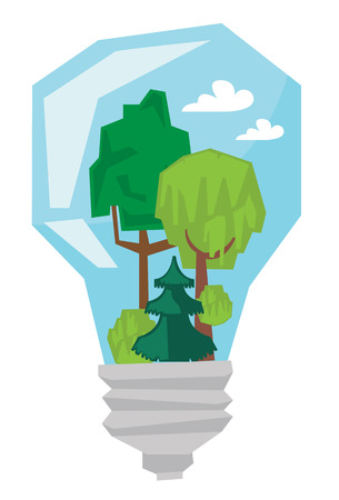 Light bulb with trees inside vector flat design illustration isolated on white background. Illustration