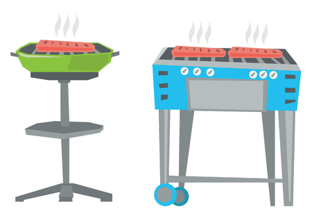 gas barbecue: Kettle barbecue grill and barbecue gas grill vector flat design illustration isolated on white background. Illustration