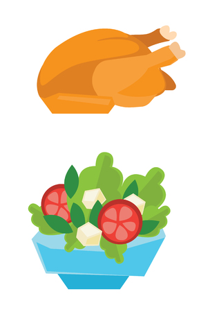 whole chicken: Whole roasted chicken and bowl full of tomatoes, lettuce and cheese vector flat design illustration isolated on white background.