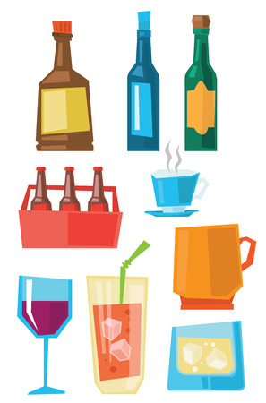 Various glasses and bottles of alcohol and cups of hot beverages vector flat design illustration isolated on white background.