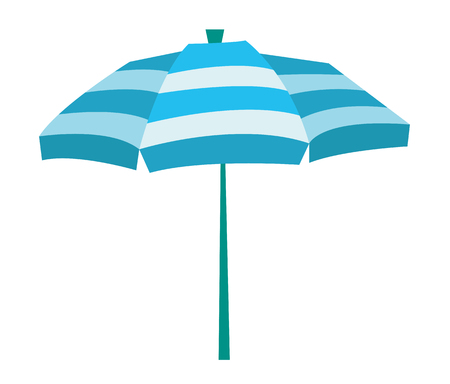 Striped beach umbrella vector flat design illustration isolated on white background. Illustration