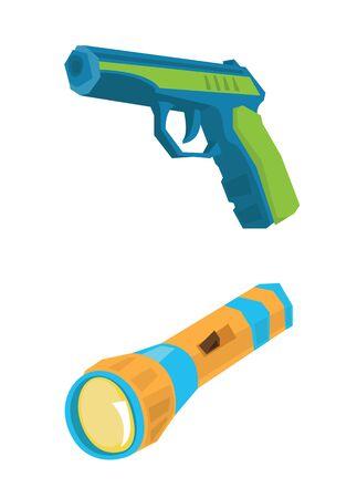 Pistol and flashlight vector flat design illustration isolated on white background.