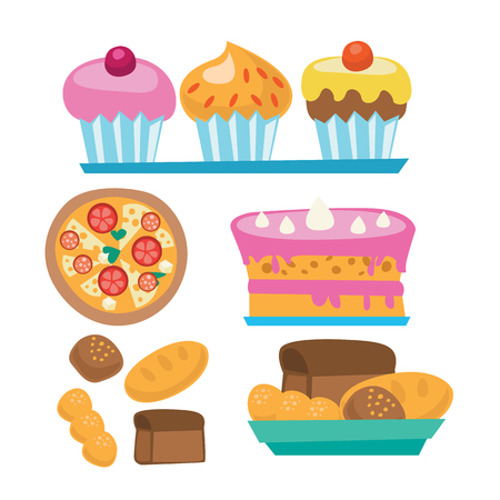 fattening: Pizza and assortment of sweet pastry - cake, cupcakes, bread vector flat design illustration isolated on white background. Illustration
