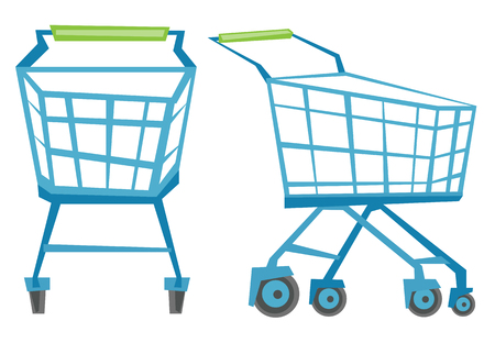 carretilla de mano: carritos de la compra vacío vector Ilustración diseño plano aislado en el fondo blanco.