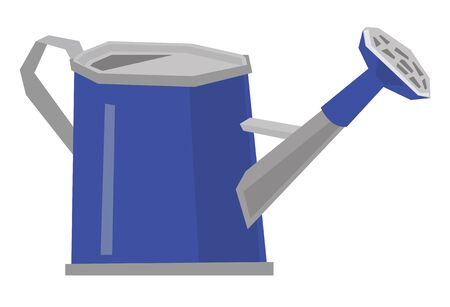Blue watering can vector flat design illustration isolated on white background.