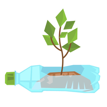 Stem growing in used plastic bottle vector flat design illustration isolated on white background. Illustration
