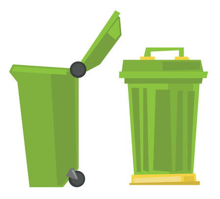 Large trash cans vector flat design illustration isolated on white background.