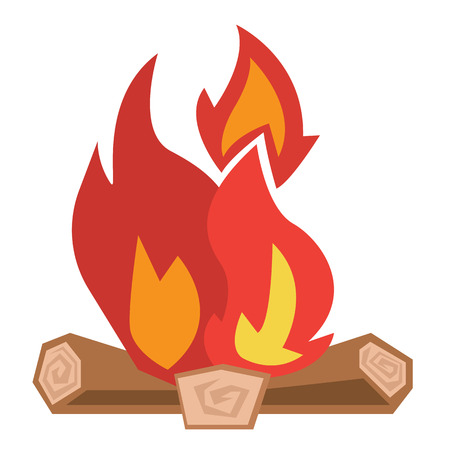 Camp fire burning brightly vector flat design illustration isolated on white background.