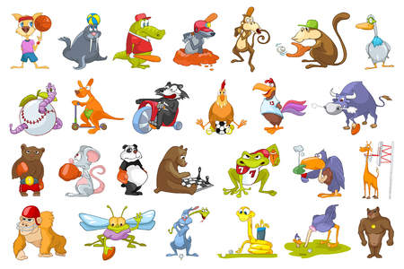 Set of colourful animals wearing uniform and using sports equipment. Animals playing basketball, baseball, rugby, football, golf, riding bicycle. Vector illustration isolated on white background. Vettoriali