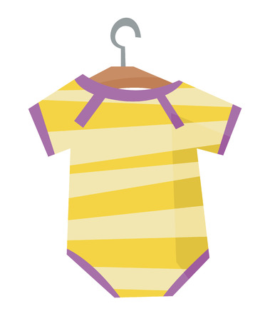 bodysuit: Yellow bodysuit for baby on a hanger vector flat design illustration isolated on white background.