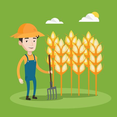 happy farmer: A happy farmer in summer hat standing with a pitchfork on the background of wheat field. Smiling man holding agricultural tool and working in wheat field. Vector flat design illustration. Square layout.