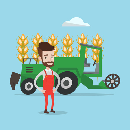 A hipster farmer with the beard standing on the background of combine working in wheat field. Combine harvesting wheat. Vector flat design illustration. Square layout.