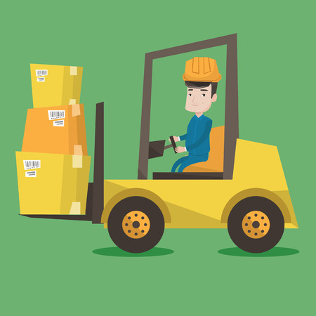 Warehouse worker loading cardboard boxes. Forklift driver at work in storehouse. Warehouse worker in hard hat driving forklift at warehouse. Vector flat design illustration. Square layout. Illustration