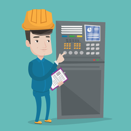 button front: Man working on control panel. Worker in hard hat pressing button at control panel. Engineer with clipboard standing in front of the control panel. Vector flat design illustration. Square layout.