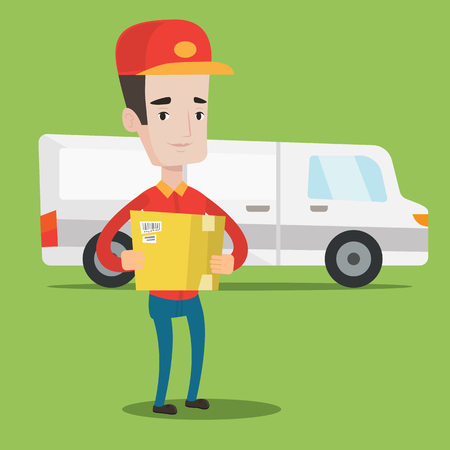 man carrying box: Delivery man with box on background of delivery truck. Delivery man carrying cardboard box. Delivery man with a box in his hands. Vector flat design illustration. Square layout. Illustration