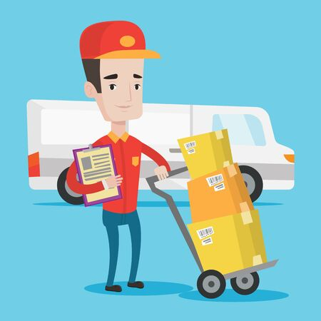 troley: Delivery man with cardboard boxes on troley. Delivery man with clipboard. Delivery man standing in front of delivery van. Vector flat design illustration. Square layout.