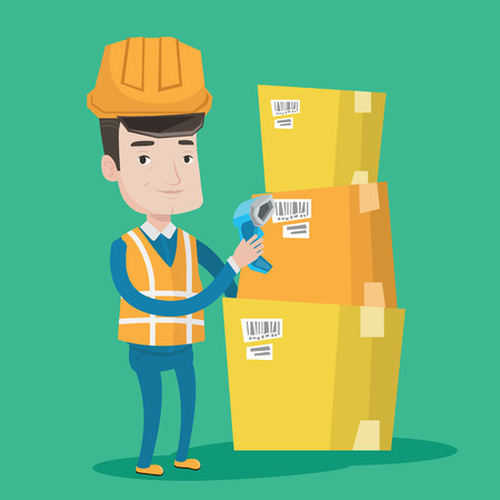 Warehouse worker scanning barcode on box. Warehouse worker checking barcode of box with a scanner. Warehouse worker in hard hat with scanner. Vector flat design illustration. Square layout. Illustration