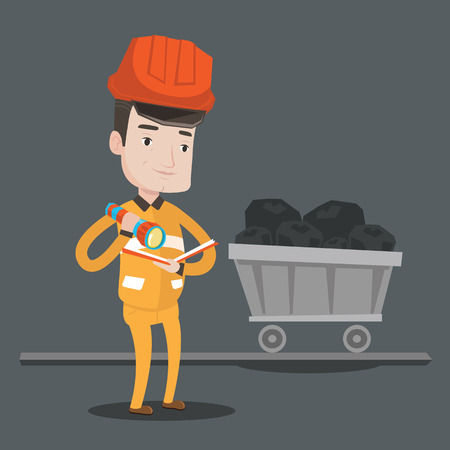 coal mine: Miner checking documents with the flashlight on the background of trolley with coal. Mine worker in hard hat. Miner in the coal mine. Vector flat design illustration. Square layout.