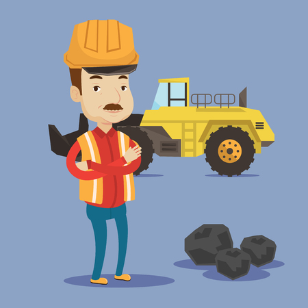 excavate: A miner in hard hat standing in front of a big excavator. Miner with crossed arms standing near coal. Vector flat design illustration. Square layout.
