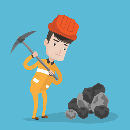 hard: A miner in hard hat working with a pickaxe. Miner at the coal mine. Vector flat design illustration. Square layout.