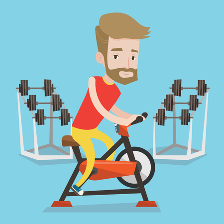 stationary bicycle: A hipster man with the beard riding stationary bicycle in the gym. Sporty man exercising on stationary training bicycle. Man training on exercise bike. Vector flat design illustration. Square layout.