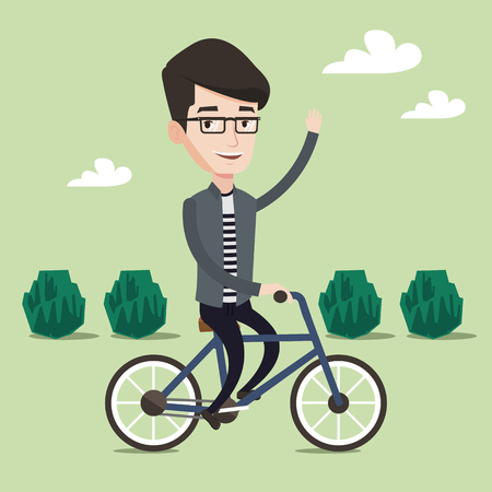 lifestyle outdoors: Sportive man riding a bicycle in the park. Cyclist riding bike and waving his hand. Man on a bike outdoors. Healthy lifestyle concept. Vector flat design illustration. Square layout.