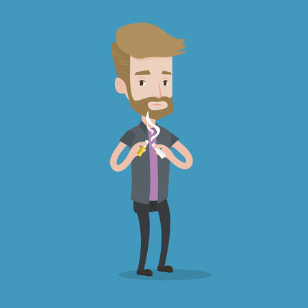 crushing: A hipster man with the beard breaking the cigarette. Man crushing cigarette. Man holding broken cigarette. Quit smoking concept. Vector flat design illustration. Square layout.