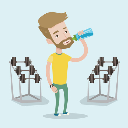 sportive: Sportive hipster man with the beard drinking water. Man with bottle of water in the gym. Sportsman drinking water from the bottle. Vector flat design illustration. Square layout.