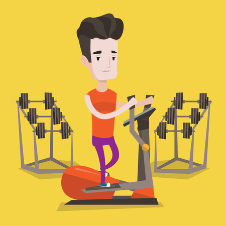 cardiovascular workout: Young man exercising on elliptical trainer. Man working out using elliptical trainer at the gym. Man using elliptical trainer. Vector flat design illustration. Square layout.