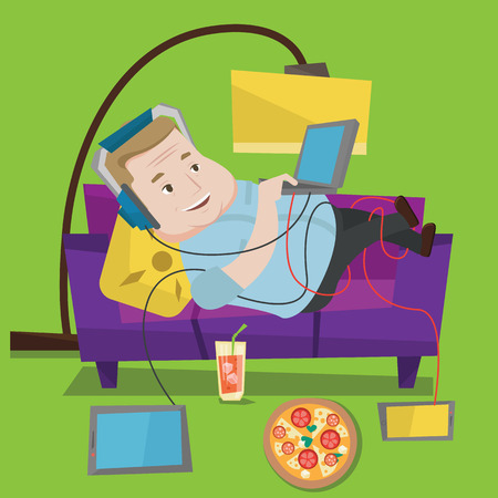 addicted: Man with belly relaxing on a sofa with many gadgets. Man lying on a sofa surrounded by gadgets and fast food. Fat man using gadgets at home. Vector flat design illustration. Square layout.