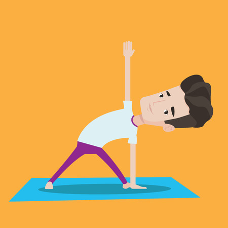 man meditating: Young man standing in yoga triangle pose. Man meditating in yoga triangle position. Man doing yoga. Vector flat design illustration. Square layout.