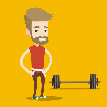 square tape: Man measuring his waistline with a tape. Man measuring with tape the abdomen. Happy man with centimeter on a waist standing near a barbell on the floor. Vector flat design illustration. Square layout.