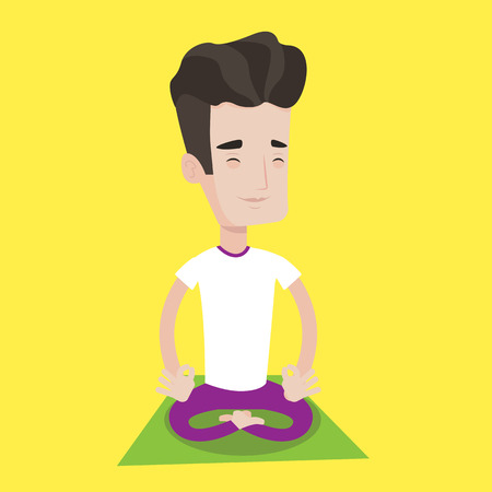 man meditating: Young man meditating in yoga lotus pose. Man relaxing in the yoga lotus position. Man doing yoga. Vector flat design illustration. Square layout. Illustration