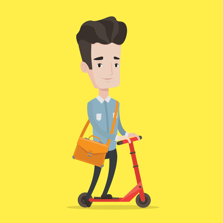 kick out: Young man riding a kick scooter. Businessman with briefcase riding to work on scooter. Man on kick scooter. Vector flat design illustration. Square layout.