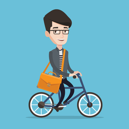 caucasians: Young man riding a bicycle. Cyclist riding bike. Businessman with briefcase on a bike. Healthy lifestyle concept. Vector flat design illustration. Square layout.