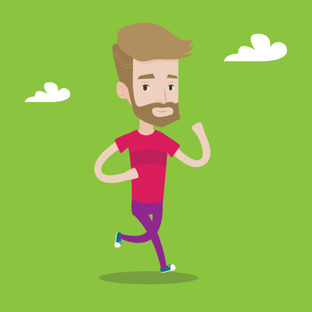 male athlete: Young hipster man with the beard running. Male runner jogging. Full length of a male athlete running. Sportsman in sportswear running. Vector flat design illustration. Square layout.
