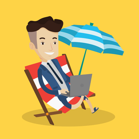 vacation with laptop: A happy businessman wearing suit working on the beach. Businessman sitting in chaise lounge under beach umbrella and working on a laptop. Vector flat design illustration. Square layout.