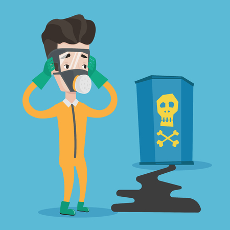 Concerned man in respirator and radiation protective suit clutching his head. Young man looking at leaking barrel with radioactive sign. Vector flat design illustration. Square layout.