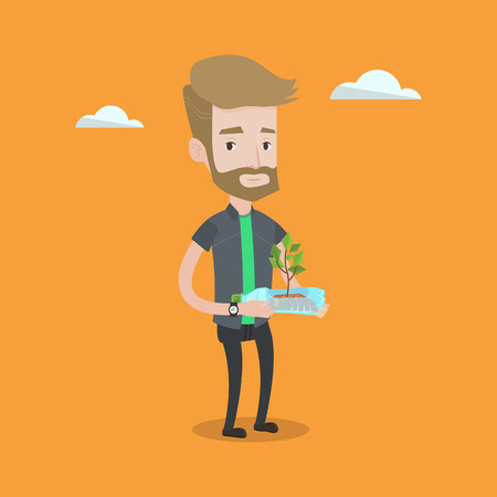 Hipster man with the beard holding in hands plastic bottle with plant growing inside. Man holding plastic bottle used as plant pot. Recycling concept. Vector flat design illustration. Square layout. Illustration