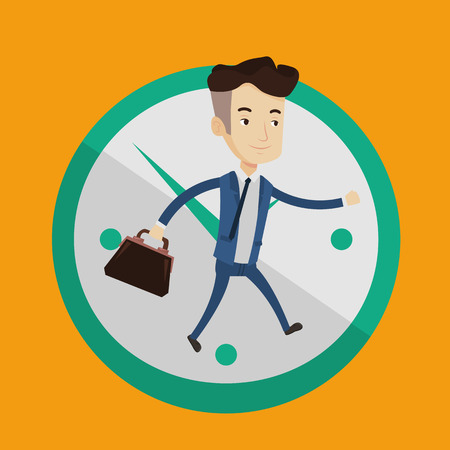 lateness: A happy businessman with suitcase in hand running on a background of big clock. Businessman in a hurry. Concept of deadline and busy time. Vector flat design illustration. Square layout.