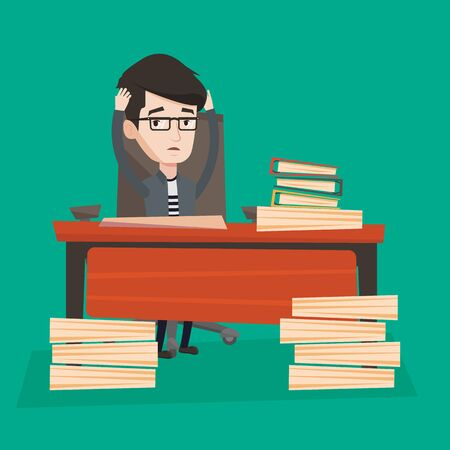 A businessman in despair sitting at workplace and clutching his head in front of heap of papers. Man being overworked with lots of work. Vector flat design illustration. Square layout.