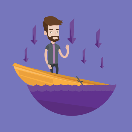 sinking: Hipster businessman standing in a sinking boat and asking for help. Man sinking and arrows behind him pointing down symbolizing business bankruptcy. Vector flat design illustration. Square layout.