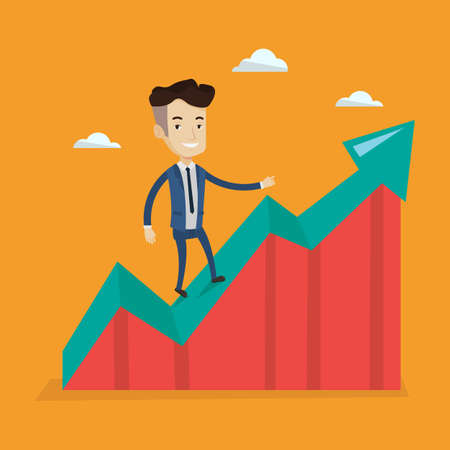 uprising: Happy businessman standing on an uprising chart. Cheerful businessman running along the growth graph. Businessman going up. Successful business concept. Vector flat design illustration. Square layout.