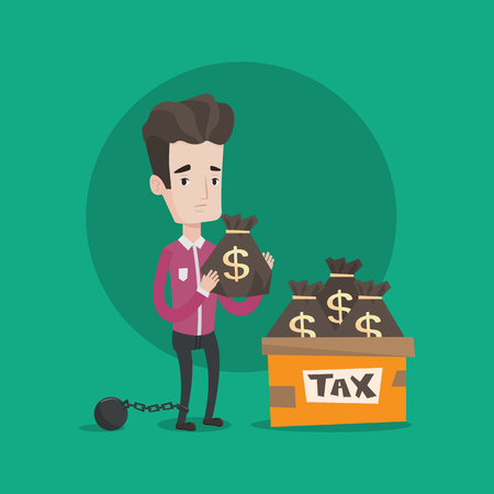 Chained to a large ball man standing near box with bags full of taxes. Businessman holding bag with dollar sign. Concept of tax time and taxpayer. Vector flat design illustration. Square layout. Illustration