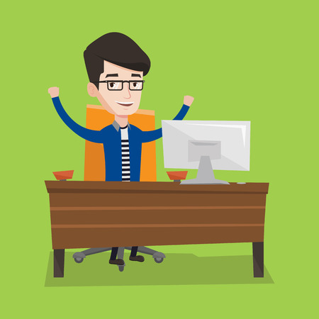 arms lifted up: Happy businessman celebrating with arms up while sitting at workplace. Businessman celebrating with arms lifted in the air. Successful business concept. Vector flat design illustration. Square layout.